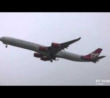 GO AROUND- Virgin a340-600 at London Heathrow [Video]