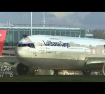 Lufthansa McDonnell Douglas MD11 at London Stansted MD-11 landing takeoff aviation [Video]