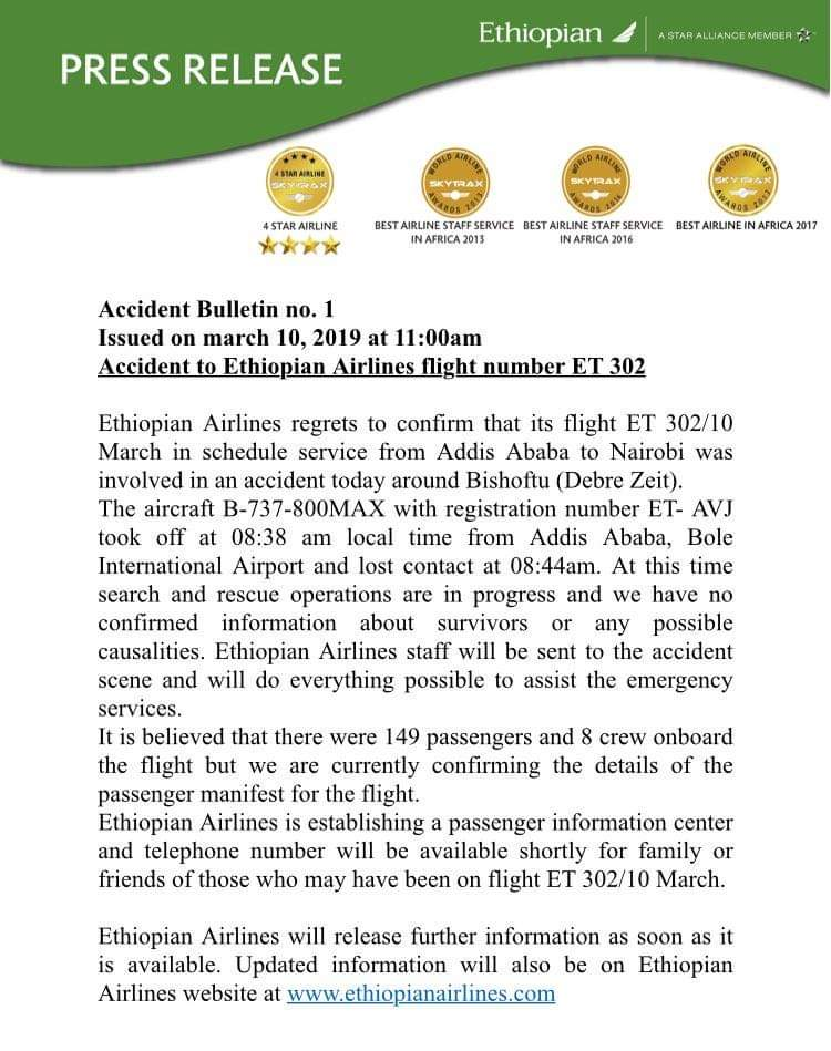 Incidente per B737 MAX di Ethiopian Airlines, nessun superstite.